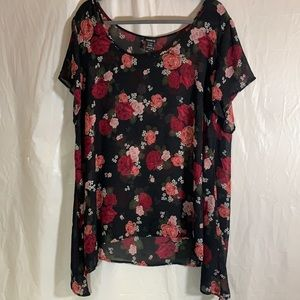 Torrid Black, Red & Pink Rose Sheer Blouse size 3